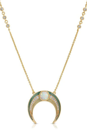 Elizabeth Stone Enamel Crescent Necklace with Opal and CZ Accents sold at Sway and Cake