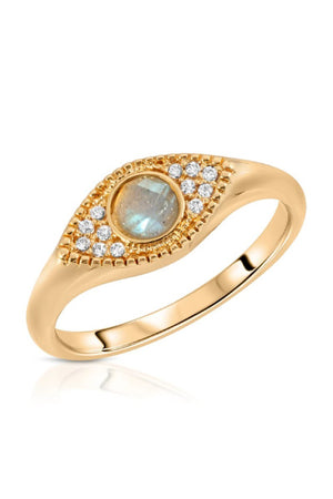 Elizabeth Stone Evil Eye Signet Ring with Labradorite and CZ Accents sold at Sway and Cake