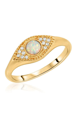 Elizabeth Stone Evil Eye Signet Ring with Opal and CZ Accents sold at Sway and Cake