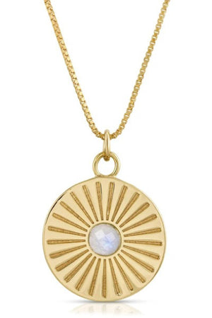 Elizabeth Stone Sunburst Charm Necklace with Moonstone sold at Sway and Cake
