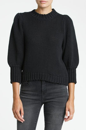 Pistola Gabbie Puff Sleeve Sweater in Black front view