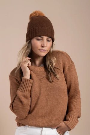 Hat Attack Cashmere Slouchy Beanie with Faux Fur Pom in Tobacco