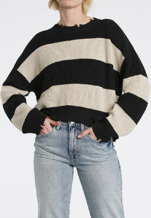 Eva Sweater in Black Oatmeal Stripe