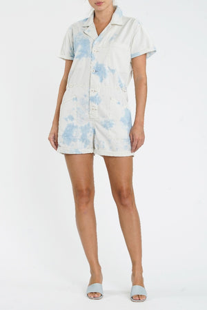 Pistola Field Suit Short Jumpsuit in Blue Surf sold at Sway and Cake