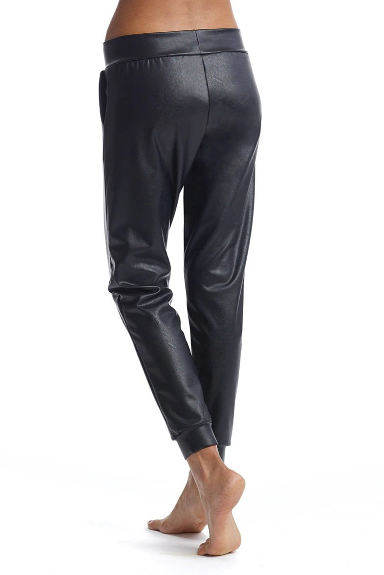 Vegan Leather Jogger in Black