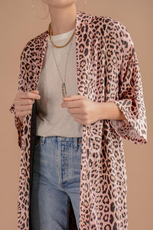 Sway and Cake Long Kumi Kimono in Blush Leopard