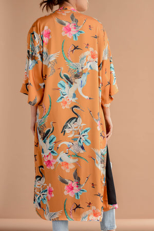 Sway and Cake Long Kumi Kimono in Caramel Crane