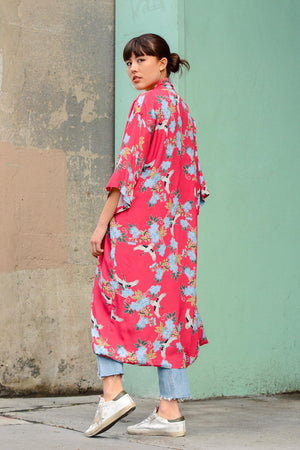 Sway and Cake Long Kumi Kimono in Red Crane