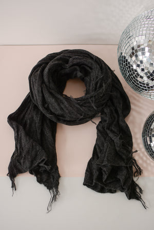 Sierra Brushed Fringed Scarf in Charcoal