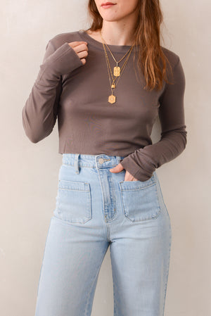 Beautiful People Tencel L/S Crop Top In Mushroom