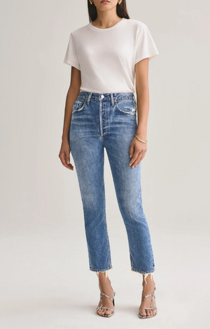 Agolde Riley Hi-Rise Straight Crop Jean In Frequency