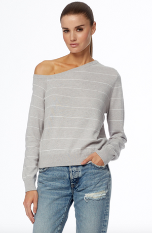 360 Cashmere Diane Off Shoulder Sweater in Grey