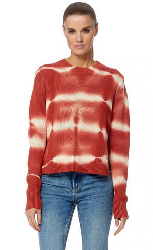 360 Cashmere Jasper Tie Dye Sweater in White/Tomato