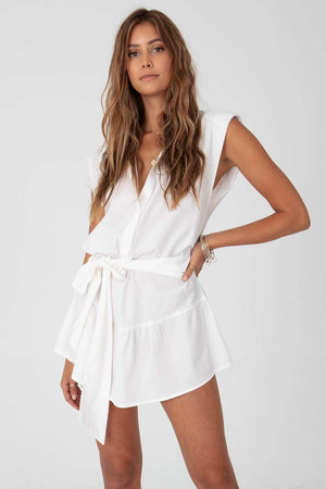 Strong Shoulder Mini Dress in White
