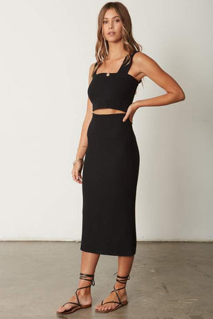 Classic Rib Skirt in Black
