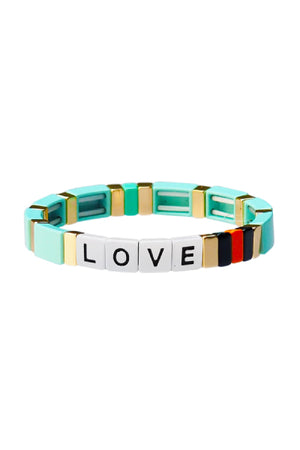 TAI Alloy Bead LOVE Bracelet in Turquoise sold at Sway and Cake