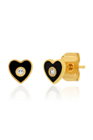TAI Black Enamel Heart Studs with CZ Accents sold at Sway and Cake