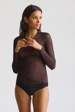 Chic Mesh Long Sleeve Top in Black