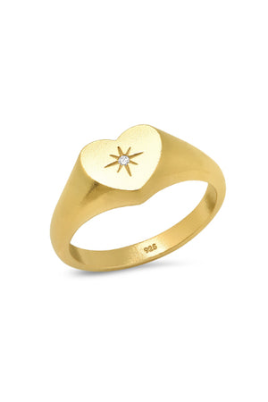 Heart Signet Ring in Gold