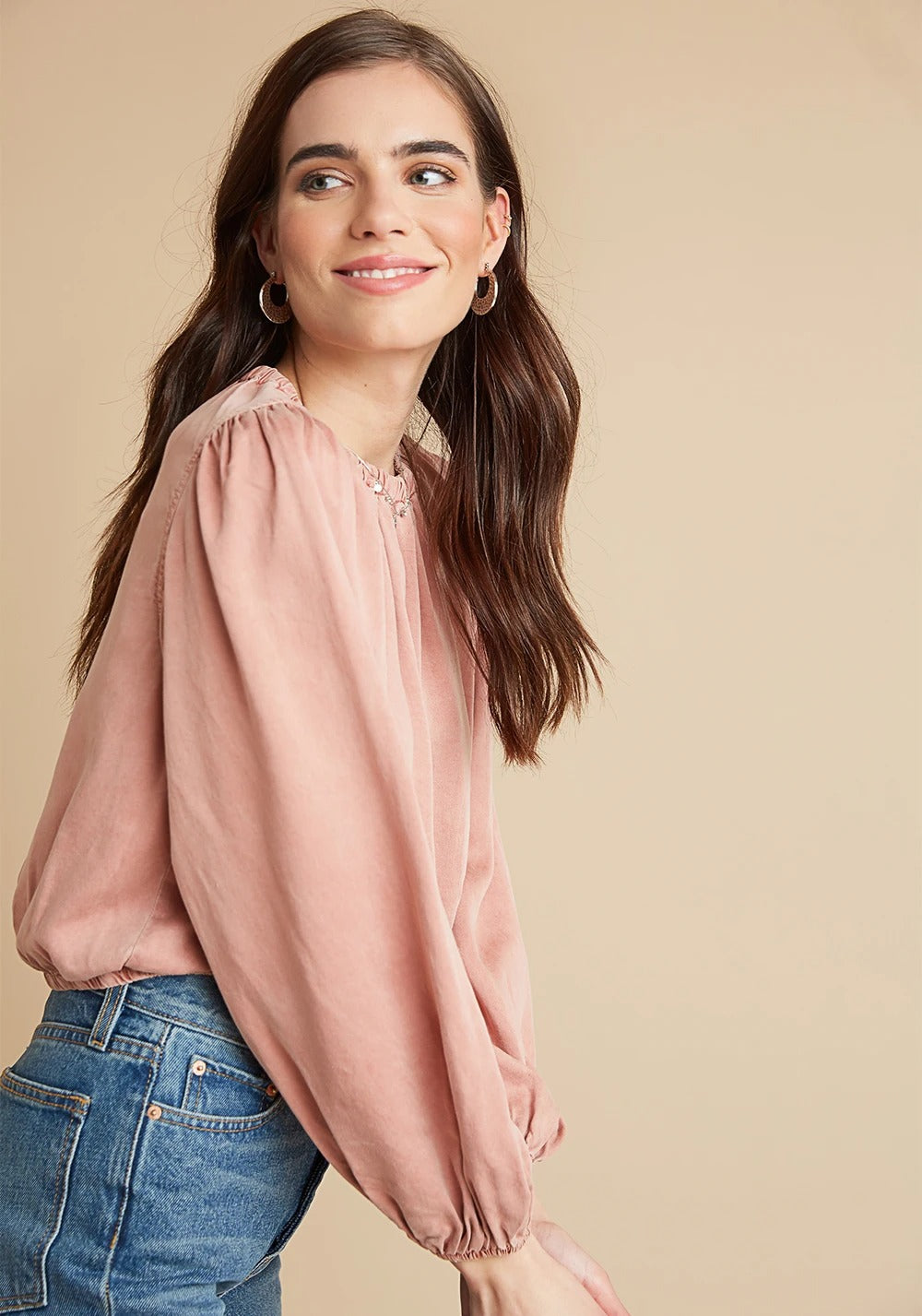 Elastic Shirred Top in Fire Glow