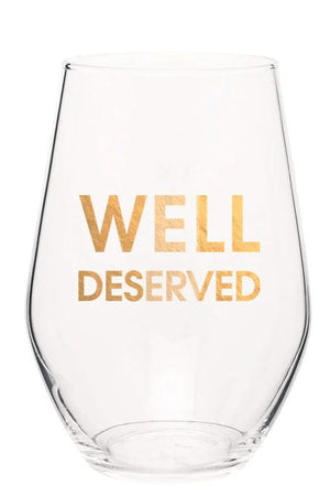 Chez Gagne Gold Foil Well Deserved Wine Glass