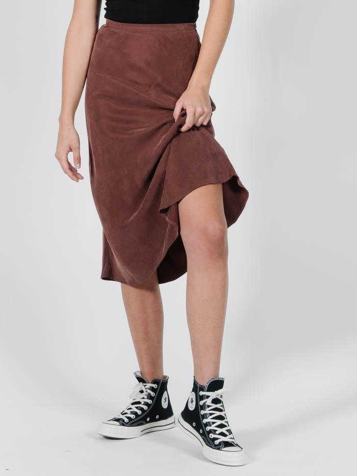 Kiri Bias Skirt in Brown