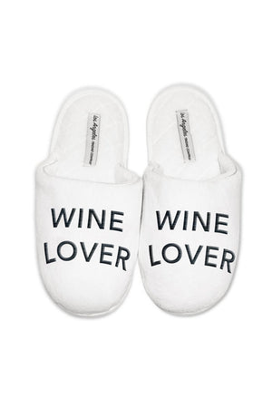 Wine Lover Slippers in White