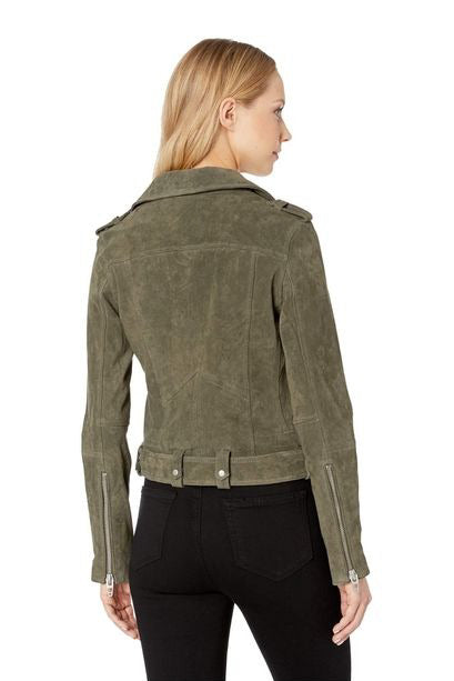 Suede Moto Jacket in Herb