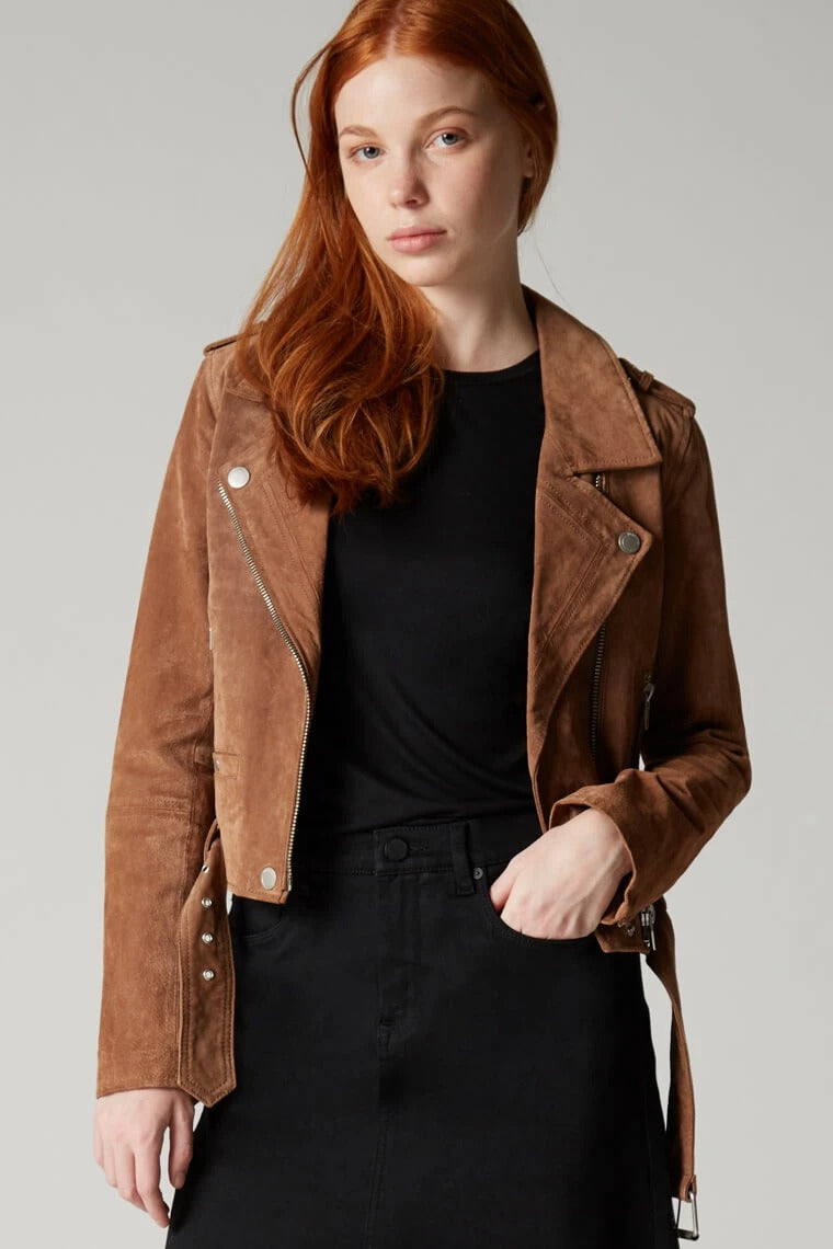 Suede Moto Jacket in Coffee Bean