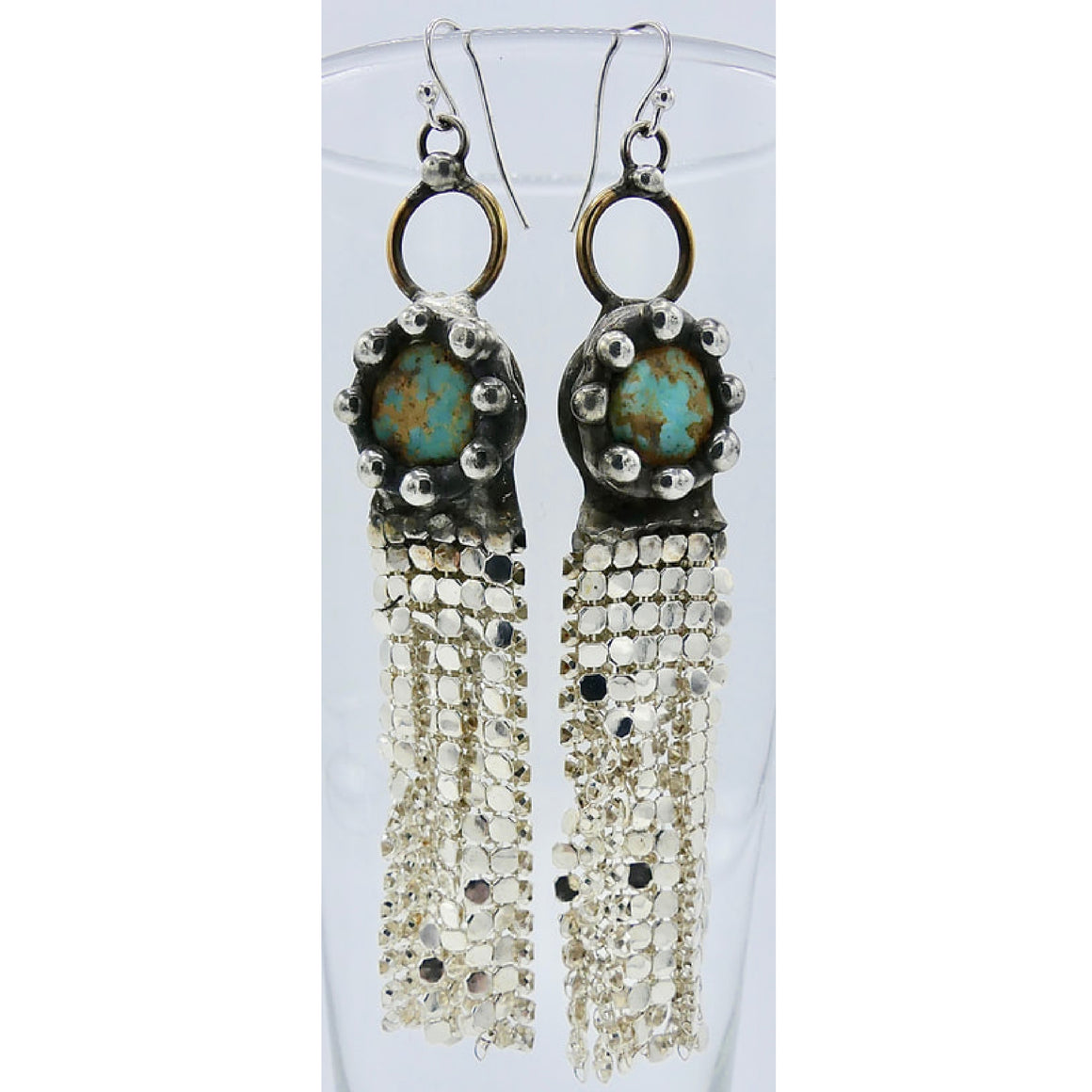 Turquoise Silver Mesh Earrings