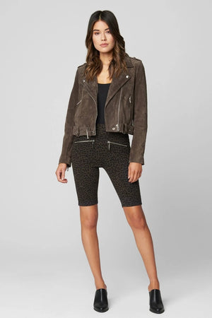 Suede Moto Jacket in Shadowed Grey