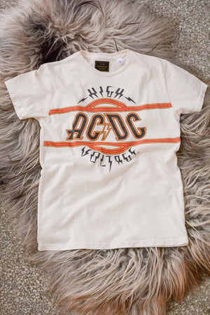 Retro Brand Black Label 'ACDC High Voltage' Tee in White