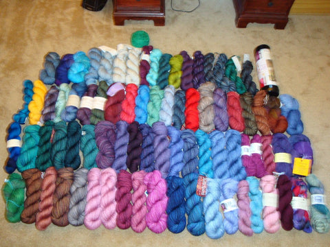 Just the sock yarn -- most often involved in the stash/destash cycle. June 2009.