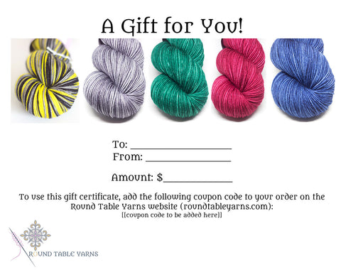 Gift Certificate - Round Table Yarns hand-dyed yarn tonal semi-solid self-striping