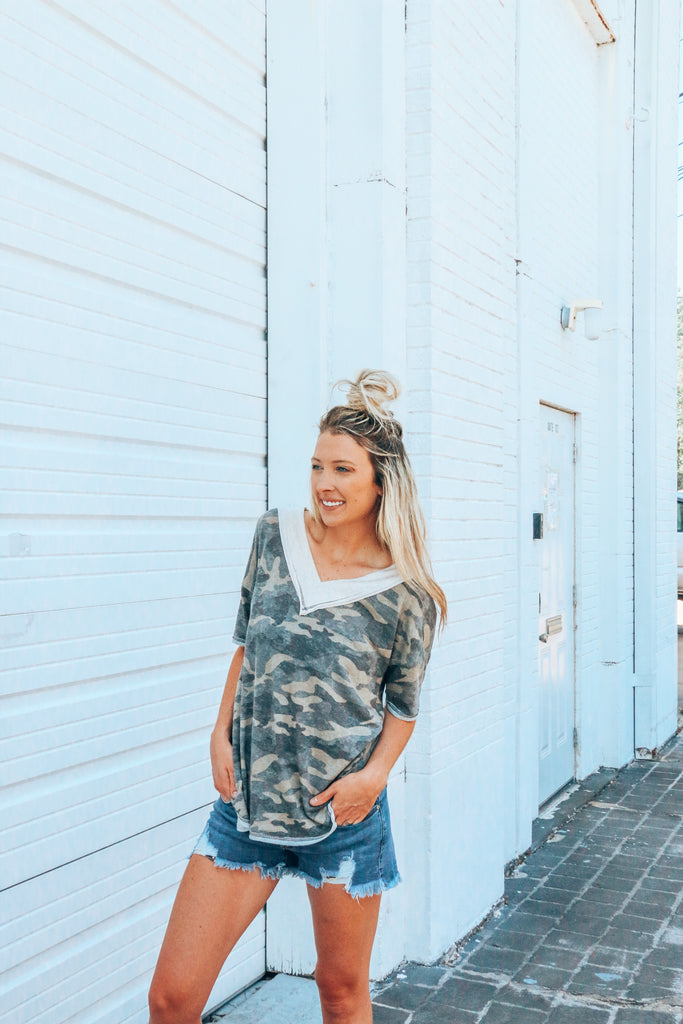 Out Of The Woods Camo V-Neck Top