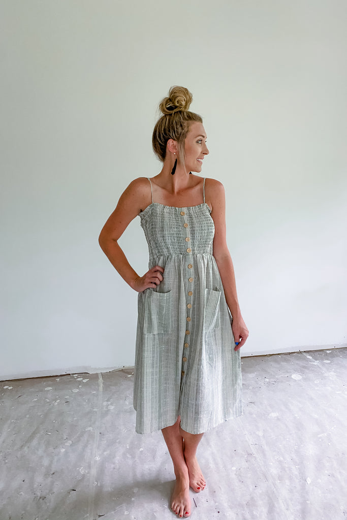 Raven Sage Striped Midi Dress