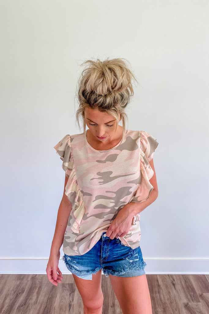 Hide & Seek Blush Camo Ruffle Top