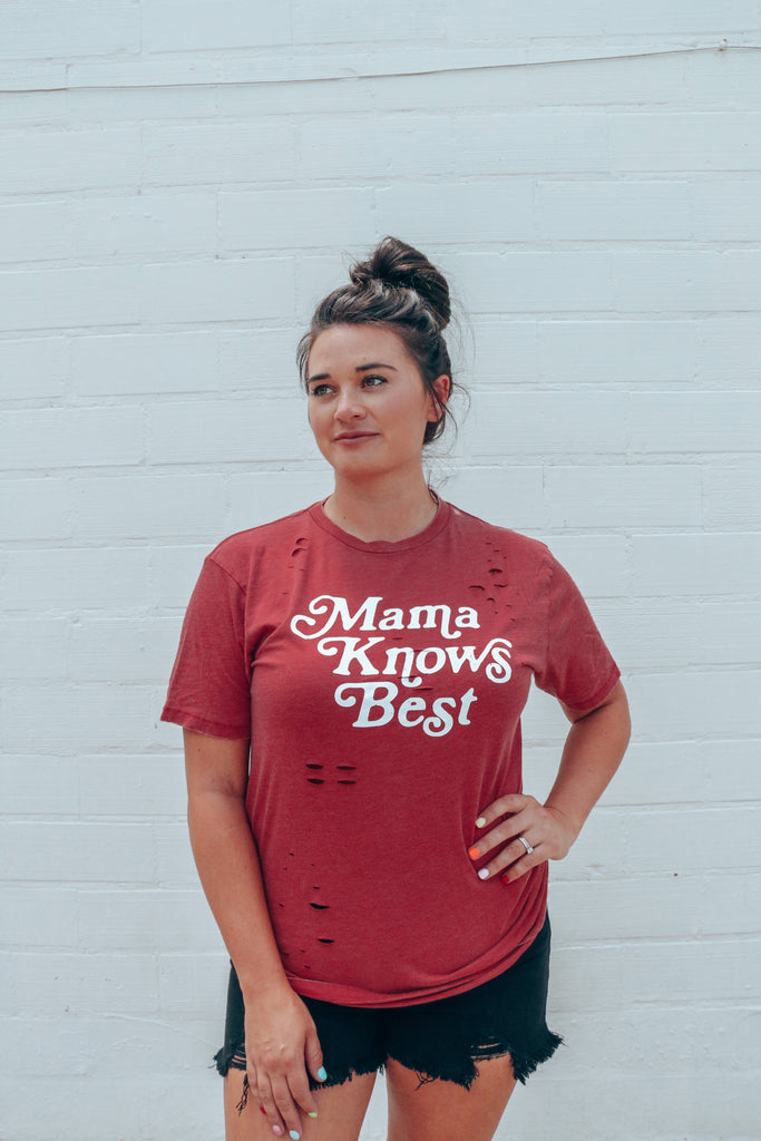 Mama Knows Best Chili Pepper Distressed Tee