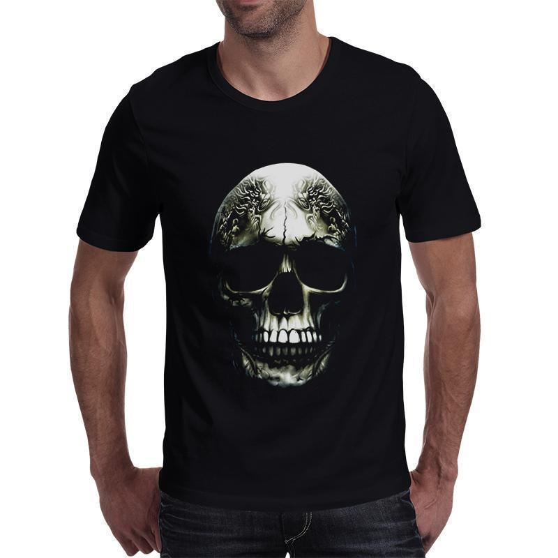Cool Short Sleeved Horned Skull Print T Shirt