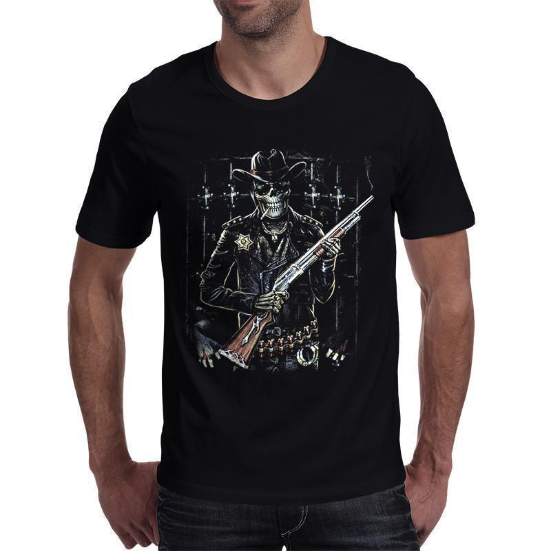 3D Skeleton Cowboy Print Men's T Shirt-Black-S-