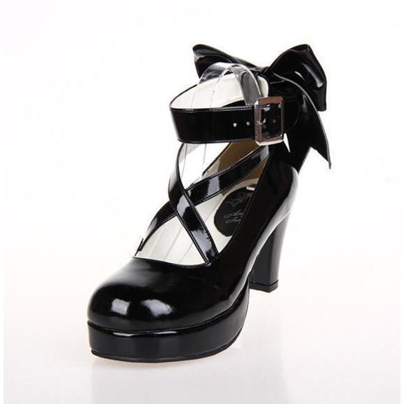 6.5cm Red Or Black Lolita Bow High Heel Shoes - The Black Ravens