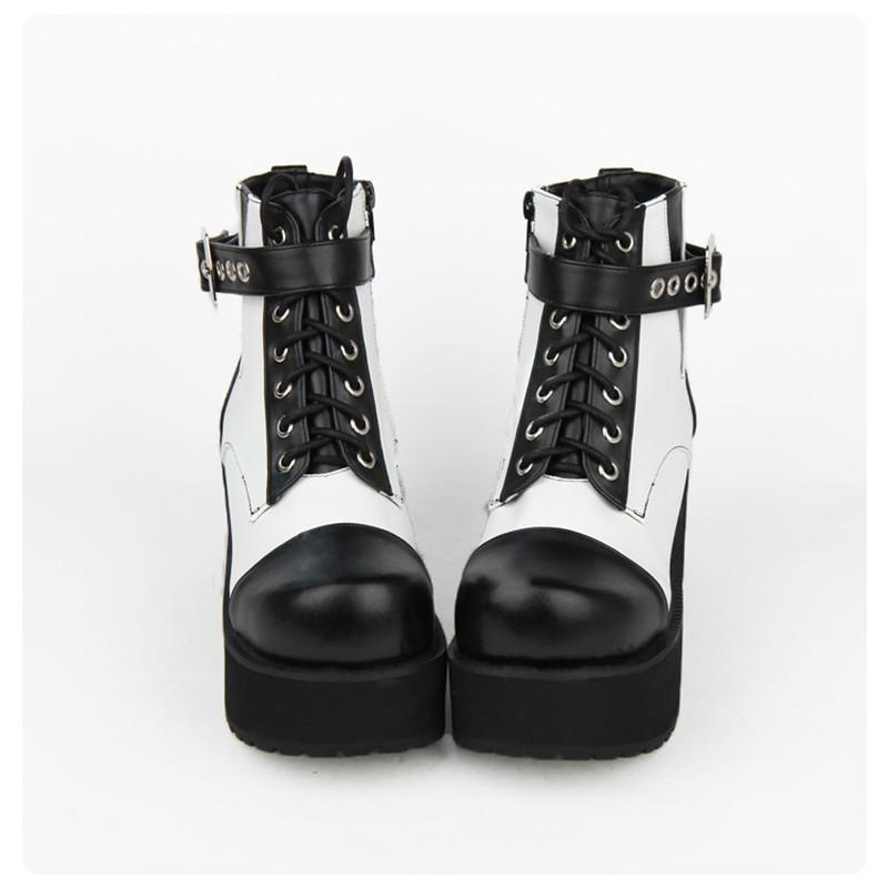 8cm Block Black and White Buckle Heel Gothic Boots - The Black Ravens