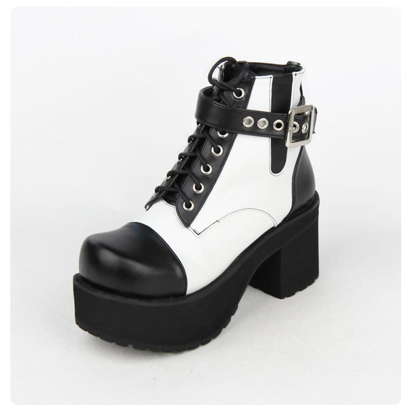 8cm Block Black And White Buckle Heel Gothic Boots-White-5-