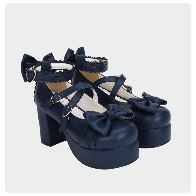 8cm Royal Blue High Heel Platforms-Navy Blue-5-