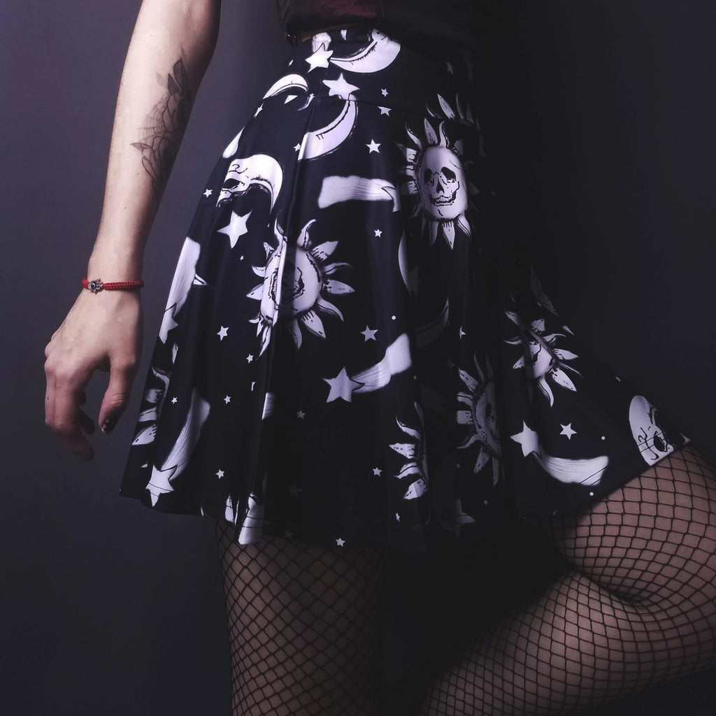 Astrological Sun and Moon Skater Skirt - The Black Ravens