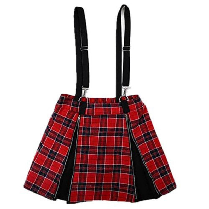 A-Line Plaid Ladies' Punk Suspender Skirt-S-