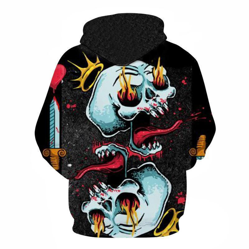 Abstract Scary Crowned Skull Hoodie - The Black Ravens