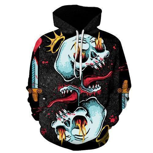Abstract Scary Crowned Skull Hoodie-Black-XS-