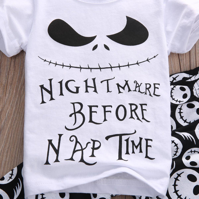 Adorable Jack Skellington PJs For Children-White-0-3 Months-
