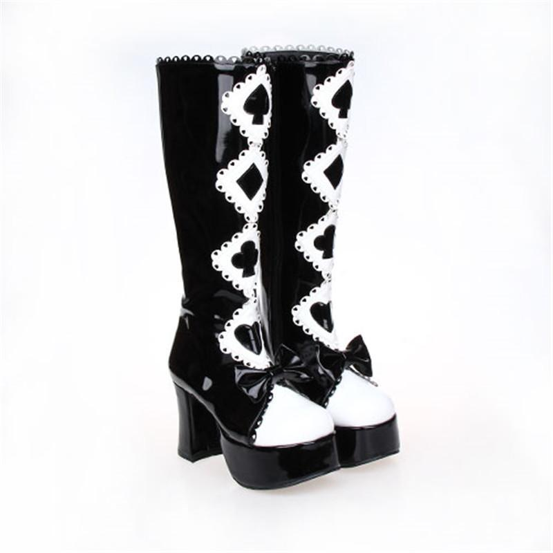 Alice in Wonderland Black and White Lolita Boots - The Black Ravens